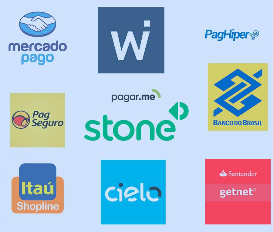 Gateways e intermediadores de pagamentos.