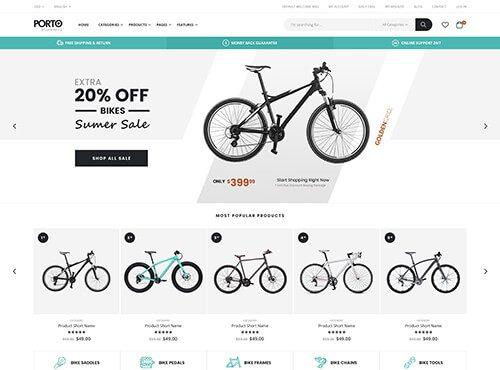 Tema porto para Magento 2 - Loja de bicletas